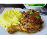 4. Plnené pečené kuracie stehno, dusená ryža, kyslá uhorka (200/200/30)g – 1,3,7