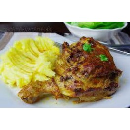 4. Plnené pečené kuracie stehno, dusená ryža (200/250)g – 1,3,7