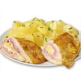 5. Cordon bleu – kuracie prsia plnené šunkou  a syrom, zemiaková kaša     (130/250)g – 1,3,7